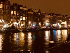 Amsterdam at night, It was raining out. (The European) Tags: citylights sky europe cold bikes cars iphone8plus iphone water rain houses lights dark night canals holland thenetherlands amsterdam