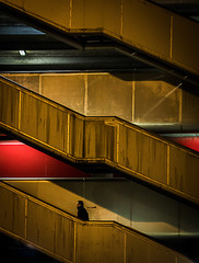 Up the stairs II (MortenTellefsen) Tags: stairs up betong concrete red berge norway city street streetphoto streetlife light