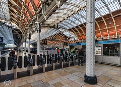 London Nov 2018 097-Edit (Mark Schofield @ JB Schofield) Tags: london paddington railway station rail train commute wrought iron arched burger king bar stall ticket turnstile