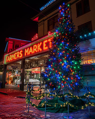 It's Christmastime in the City... (Stephanie Sinclair) Tags: pikeplacemarket christmas seattle seattleempress christmastime christmastree publicmarket city nightphotography