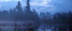 On Hockinson Pond (Eclectic Jack) Tags: sunset near house rural blue dusk twilight evening fog mist cloud clouds