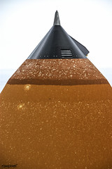 The External Tank attached to Space Shuttle Atlantis shows Hail. Original from NASA. Digitally enhanced by rawpixel.