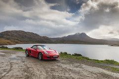 Loch Bad an Sgalaig (syf22) Tags: scotland rosscromarty car autocar automobile automotor auto vehicle motor motorcar motorised red guardsred porsche porscheclubgb porscheclubgbregion2 porscheboxster boxster boxsters boxster981s softtop convertible sportscar flatsix flat6 flatsixengine boxerengine rearengine rear countryside landscape scenic scenery opencountry cloudscape stormy storm moody clouds clearing shower changeable cloudy sky cloudysky overcast weather view panoramic