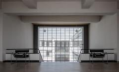 Bauhaus-6 (henny vogelaar) Tags: germany bauhaus architecture waltergropius dessau unescoworldheritage glass steel window marcelbreuer chairs color