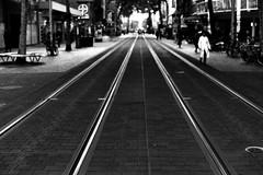 Doc is coming (Leica M6) (stefankamert) Tags: street film analog grain lines analogue leica m6 leicam6 voigtländer nokton kodak trix stefankamert karlsruhe tram city rails blackandwhite blackwhite noiretblanc noir people blur dof