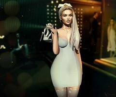 When the party is over (Neva Valon) Tags: sl secondlife blog blogger fashion style lotd avatar pixel virtual female woman maitreya genus genusproject party newyear nye dress elegant heels bow