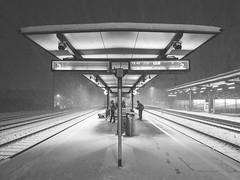 Winter mood (tinfrey) Tags: bw leadinglines snow tracks winter switzerland