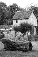 Gatehouse and Log - Monochrome (John of Witney) Tags: log monochrome blackandwhite bw gatehouse medieval tudor building timberframed lowerbrockhampton brockhamptonestate herefordshire nationaltrust nt