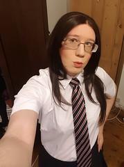 Just another selfie before school (Kassi-D) Tags: crossdresser crossdress transvestite trans tgirl schoolgirl uniform