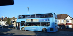 Keresley Road sky blues: bus and cloud (paulburr73) Tags: