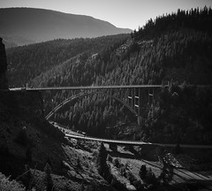 Eagle County bridges (Valley Imagery) Tags: bridge rail river colorado eagle county red hill cliff highway morning mountains landscape pine black white sony a99ii tamron 1530 nisi polariser contrast