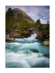 Streaming water (andreassofus) Tags: water stream streaming streamingwater bridge landscape nature mountain mountainscape trees nnorway travel travelphotography hike hiking outdoor nopeople summer summertime sky clouds color colorful
