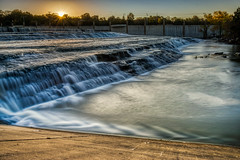 Sun rising over White Rock Falls (tquist24) Tags: hdr lakewood nikon nikond5300 whiterockcreek whiterocklake whiterocklakewaterfall creek dam geotagged longexposure morning river sky spillway stream sunrise water waterfall