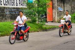 Bikers (Beegee49) Tags: street men riding motorbikes luminar sony a6000 bacolod city philippines