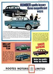1964 Rootes Range (aldenjewell) Tags: 1964 humber super snipe hawk sceptre singer gazelle vogue sunbeam rapier alpine rootes ad