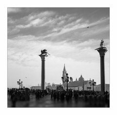the lion and the crocodile (Hansoul0) Tags: venice columns piazza sanmarco italy cathedral island lion travel tourism venezia square blackandwhite bw