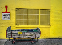 Milk Crates (Paul B0udreau) Tags: nikkor1855mm photoshop canada ontario paulboudreauphotography niagara d5100 nikon nikond5100 raw layer toronto city paintstore yellow colourful cart