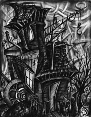 Abandoned (II) (Skyler Brown Art) Tags: abandoned angst architecture art artwork bw blackwhite blackandwhite charcoal creepy dark darkness depressing drawing gothic haunted house illustration industrial ink macabre ominous paper pen sad trees
