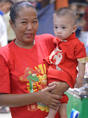 with grandma in their chinese new year shirts (the foreign photographer - ฝรั่งถ่) Tags: boy toddler grandma khlong bangkhen bangkok chinese new year shirts nikon d3200
