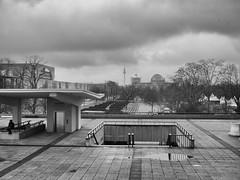 Germany - Berlin - Haus der Kulturen (st3000) Tags: europe oldeurope germany berlin capital hdk hausderkulturen gm5 lumix 20mm reichstag blackandwhite bw outdoor rainyday rainy grey tristesse triste