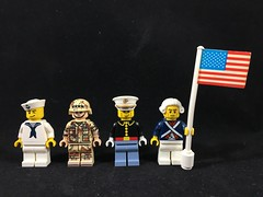 2018-315 - Veterans Day (Steve Schar) Tags: 2018 wisconsin sunprairie iphone iphone6s project365 lego minifigure sailor navy general army marine bluecoat flag