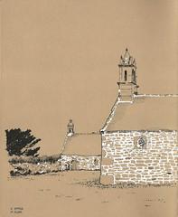 Chapelle Saint Michel - Plouguerneau (cmoreauart) Tags: chapelle chapel church architecture sketch