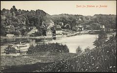 Postkort fra Agder (Avtrykket) Tags: bolighus båt elv hus postkort rutebåt tømmer tømmerstokk uthus vassdrag arendal austagder norway nor