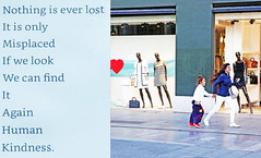 Nothing is Ever Lost (kirstiecat) Tags: diptych alicewalker mother daughter fun excitement europe belgium run mannequins absolutetrustinthegoodnessoftheearth whereismynailfilewhereismyglasseshaveyouseenmycarkeys poem poet title nothingiseverlost family running people strangers literature read heart shop store wind hair happy happiness