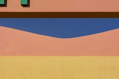 Wall with a gap (Jan van der Wolf) Tags: map181114vv wall gap gat pink salmon green fonts letters yellow muur fuerteventura geometric geometry geometrisch
