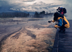 Tourists - Grand Prismatic Spring - Fall scenes from Yellowstone National Park, WY, USA (The Shared Experience) Tags: yellowstonenationalpark 2016 a6300 sonya6300 sonydslr nps nationalparks nps100 hotsprings geyser wild nature landscapes wildlife usa wy
