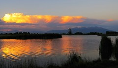 Good Night, Alamosa (Patricia Henschen) Tags: sunset mountain mountains cloud clouds blancavista park sangredecristo reflection wetland town alamosa colorado countryside rural lake pond catchycolors