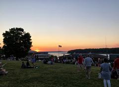 Sunset in Bar Harbor, Maine (` Toshio ') Tags: toshio maine barharbor americanflag agamontpark america families people harbor tree sun sunset northeast iphone