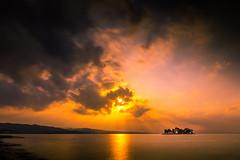 sunset 4286 (junjiaoyama) Tags: japan sunset sky light cloud weather landscape orange contrast color bright lake island water nature autumn fall calm dusk serene reflection sunburst sunrays beams
