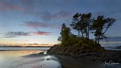 Exposed island (Jerzy Orzechowski) Tags: trees tofino beach silhouette sunset vancouverisland rocks reflections sea canada clouds island tide waves