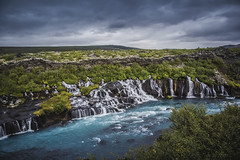 Hraunfossar (Wim van de Meerendonk, loving nature) Tags: hraunfossar waterfall falls blue clouds iceland landscape nature outdoors outdoor panorama rock rocks river sony sky scenic valley wimvandem water