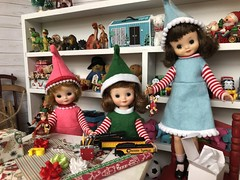 9. So much to do (Foxy Belle) Tags: doll christmas 16 scale santas workshop toy north pole toys miniature dollhouse barbie diorama holiday scene room wrapping gifts tiny vintage betsy mccall handmade felt elf costume