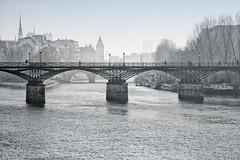 La Seine sous le pont des Arts (erichudson78) Tags: france iledefrance paris pontdesarts laseine river fleuve eau water pont bridge paysageurbain urbanlandscape brume mist canoneos5d canonef24105mmf4lisusm
