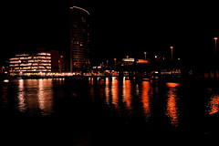 River Lagan and Obel Tower from Queen's Quay, Belfast (John D McDonald) Tags: river lagan riverlagan laganside obel tower obeltower water light lights streetlights reflection reflections belfast northernireland ni ulster geotagged night dark afterdark