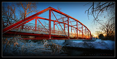 Red Dawn (J Michael Hamon) Tags: bridge red dawn morning creek stream columbusindiana lincolnpark indiana columbus snow landscape hamon nikon d7100 sigma 1020mm vignette photoborder widescreen bartholomewcounty hawcreek