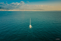 Away from the chaos (lucasodano) Tags: dji mavic drone aerial multicopter quadcopter chase chasing vessel yacht boat sail sailing sea clouds coast gulf blue