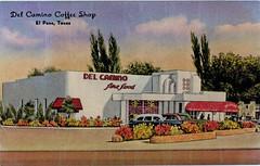 Del Camino Coffee Shop, El Paso, Texas (SwellMap) Tags: postcard vintage photograph chrome linen googie diner cafe restaurant architecture