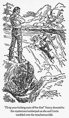 "Thug Nancy Drew in ""The Mysterious Lumberjack"" (Curtis Gaston) Tags: literature classic captions illustrations keene carolyn boys hardy drew nancy thug funny am reading library publishing art conceptual childhood"