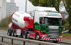 """Eddie Stobart Cement Mixer Scania """"Amber Angel"""" R450 PO18 OFM H5292 & MXT6201 Trailer (sab89) Tags: eddie stobart cement mixer scania amberangel r450 po18 ofm h5292 mxt6201 trailer"""