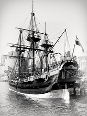 His Majesty's Ship (Peter Polder) Tags: australia buildings ship city cityscapes exterior seascape sea harbour history monochrome mono ocean old sydney skyline town urban building overcast water military