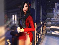 welcome in (UGLLYDUCKLING Resident) Tags: secondlife sl avatar avi girl brunette virtual world winter house xmas christmas tree cozy warm fashion style ootd scenery blogger ugllyduckling maitreya catwa posemaniacs iconic iconichair scandalize