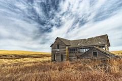 Relics of the Palouse IX (PNW-Photography) Tags: oaksdale oakesdale washington palouse abandoned rural farming farm country field house home explored explore found urbex pnw sky landscape yellow rurex