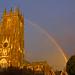 rainbow and church - Cullompton Leat Fields, Cullompton, Devon - Dec 2018