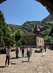 Geghard Monastery (cowyeow) Tags: armenia caucuses composition landscape geghard monastery geghardmonastery old travel historical architecture orthodoxchristianity tourists people candid women girl girls church