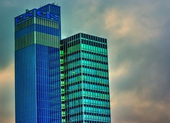 So many windows. (alex.vangroningen) Tags: windows building colors blue greeny sky uk manchestergb clouds cis