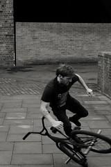 Rusty. (ianmiller6771) Tags: streetphotographyuk ukstreetphotography blackandwhite whiteblack worcestershireuk bycicletricks fujixt1 candid vintagelens